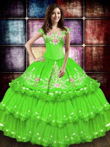 Ball Gown Prom Dress Military Ball and Sweet 16 and Quinceanera with Embroidery and Ruffled Layers Off The Shoulder Sleeveless Lace Up