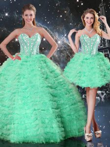 Sleeveless Floor Length Beading and Ruffled Layers Lace Up 15th Birthday Dress with Apple Green