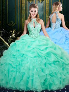 Nice Apple Green Ball Gowns Halter Top Sleeveless Organza Floor Length Lace Up Beading and Ruffles and Pick Ups 15 Quinceanera Dress