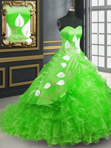 Sexy Sleeveless Organza Brush Train Lace Up Vestidos de Quinceanera in Green with Embroidery