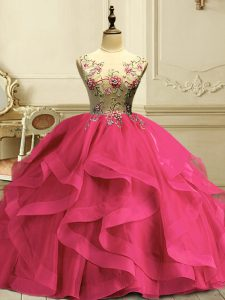 Floor Length Hot Pink Quinceanera Gown Organza Sleeveless Appliques and Ruffles