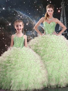 Superior Sweetheart Neckline Beading and Ruffles 15th Birthday Dress Sleeveless Lace Up