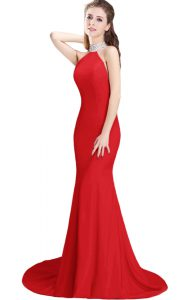 Sleeveless Beading Side Zipper Prom Dresses with Red Brush Train