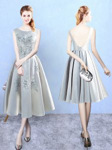 Extravagant Silver Scoop Backless Appliques Court Dresses for Sweet 16 Sleeveless