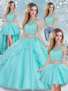 Discount Lace and Sequins Ball Gown Prom Dress Aqua Blue Clasp Handle Sleeveless Floor Length