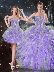 Lavender Lace Up Sweetheart Beading and Ruffles Quinceanera Dresses Organza Sleeveless