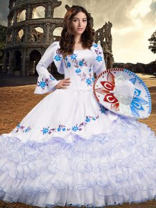 Artistic Embroidery and Ruffled Layers Quince Ball Gowns Baby Blue Lace Up Long Sleeves Floor Length