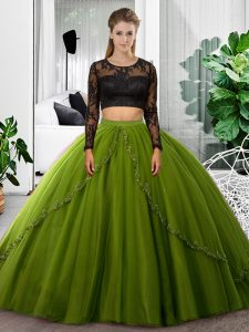 Traditional Long Sleeves Tulle Floor Length Backless Vestidos de Quinceanera in Olive Green with Lace and Ruching