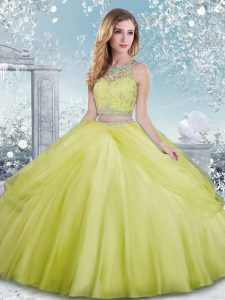 Scoop Sleeveless Clasp Handle Quinceanera Dresses Yellow Green Tulle