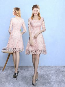 Decent Baby Pink A-line Lace Scoop Half Sleeves Lace Mini Length Zipper Quinceanera Dama Dress