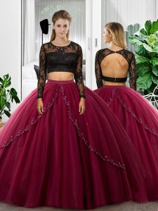 Fuchsia Long Sleeves Tulle Backless Sweet 16 Dress for Military Ball and Sweet 16 and Quinceanera