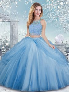 Baby Blue Sweet 16 Dress Military Ball and Sweet 16 and Quinceanera with Beading Scoop Sleeveless Clasp Handle