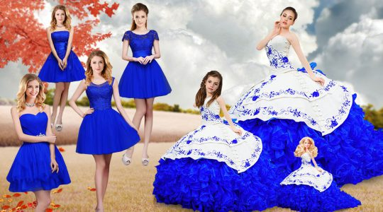 Royal Blue Organza Lace Up Quinceanera Dress Sleeveless Brush Train Embroidery and Ruffles
