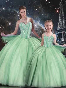 Ball Gowns Quinceanera Gowns Apple Green Sweetheart Tulle Sleeveless Floor Length Lace Up