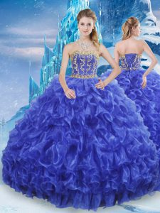 Delicate Organza Strapless Sleeveless Lace Up Beading and Appliques and Ruffles 15 Quinceanera Dress in Royal Blue