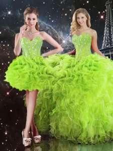 Pretty Lace Up Sweetheart Beading and Ruffles Quinceanera Dress Organza Sleeveless