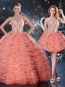 Spectacular Watermelon Red Sweetheart Neckline Beading and Ruffled Layers Sweet 16 Dresses Sleeveless Lace Up