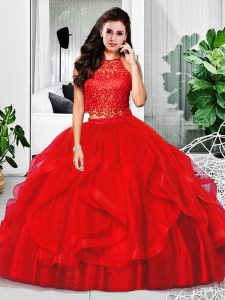 Red Sleeveless Floor Length Lace and Ruffles Zipper Quince Ball Gowns