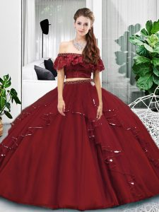 Burgundy Two Pieces Off The Shoulder Sleeveless Tulle Floor Length Lace Up Lace and Ruffles Quinceanera Dresses