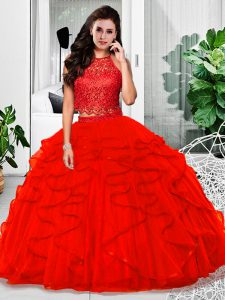 Red Sleeveless Lace and Ruffles Floor Length Quinceanera Dress