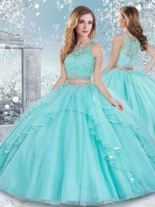 Colorful Aqua Blue Tulle Clasp Handle Vestidos de Quinceanera Sleeveless Floor Length Beading and Lace