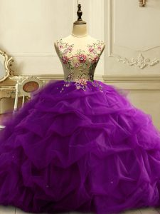Fashion Floor Length Purple Sweet 16 Dresses Scoop Sleeveless Lace Up