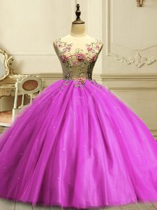 Floor Length Fuchsia 15th Birthday Dress Scoop Sleeveless Lace Up