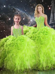 Quince Ball Gowns Military Ball and Sweet 16 and Quinceanera with Beading and Ruffles Sweetheart Sleeveless Lace Up