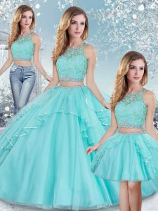 Sexy Aqua Blue Three Pieces Beading and Lace and Sequins Vestidos de Quinceanera Clasp Handle Tulle Sleeveless Floor Length