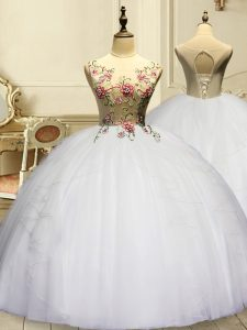 White Organza Lace Up Quince Ball Gowns Sleeveless Floor Length Appliques and Ruffles