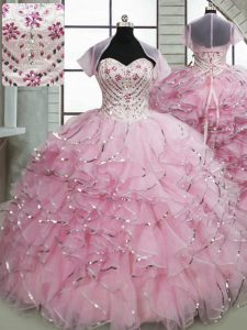 Sleeveless Organza Brush Train Lace Up Ball Gown Prom Dress in Baby Pink with Beading and Ruffles