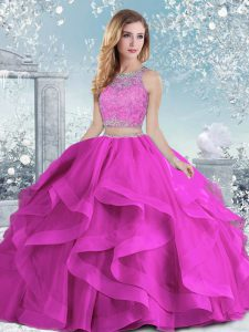 Sleeveless Clasp Handle Floor Length Beading and Ruffles Quinceanera Gown