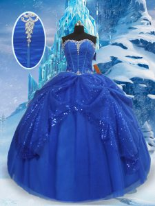 Royal Blue Sweetheart Lace Up Beading and Pick Ups Sweet 16 Dress Sleeveless