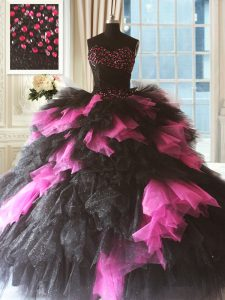 Lovely Pink And Black Ball Gowns Beading and Ruffles 15 Quinceanera Dress Lace Up Tulle Sleeveless Floor Length
