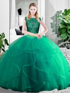 Turquoise Scoop Zipper Lace and Ruffles Sweet 16 Dresses Sleeveless
