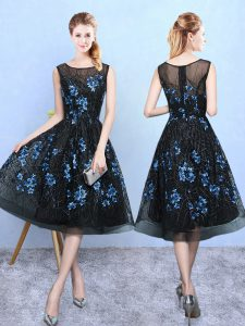 Blue And Black A-line Square Sleeveless Tulle Knee Length Zipper Appliques Vestidos de Damas