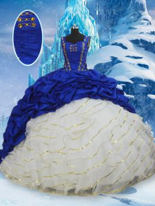 Blue And White Ball Gowns Taffeta Straps Sleeveless Ruffled Layers and Pick Ups Lace Up Sweet 16 Quinceanera Dress Brush Train