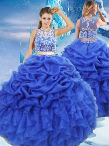 Royal Blue Scoop Neckline Beading and Ruffles and Pick Ups Sweet 16 Dresses Sleeveless Zipper