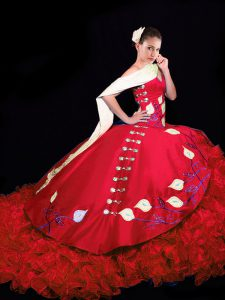 Charming Red Quinceanera Gown Taffeta Brush Train Sleeveless Embroidery and Ruffles