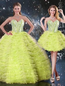 Beautiful Yellow Green Three Pieces Tulle Sweetheart Sleeveless Beading and Ruffles Floor Length Lace Up Sweet 16 Quinceanera Dress