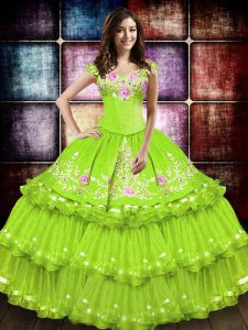 Sleeveless Taffeta Floor Length Lace Up Sweet 16 Quinceanera Dress in Yellow Green with Embroidery and Ruffled Layers