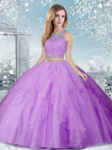 Sleeveless Tulle Floor Length Clasp Handle Quinceanera Dress in Lavender with Beading