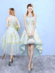 Apple Green Tulle Zipper Quinceanera Court Dresses Sleeveless High Low Appliques and Pattern