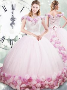 Lace Up Ball Gown Prom Dress Pink for Military Ball and Sweet 16 and Quinceanera with Hand Made Flower Brush Train