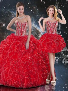 Excellent Ball Gowns Sweet 16 Dress Wine Red Sweetheart Organza Sleeveless Floor Length Lace Up