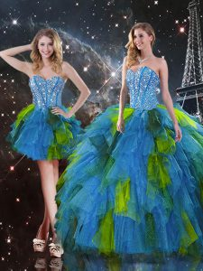 Multi-color Three Pieces Sweetheart Sleeveless Tulle Floor Length Lace Up Beading and Ruffles Sweet 16 Quinceanera Dress