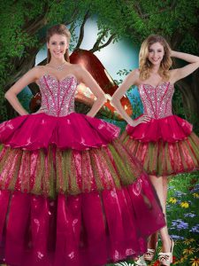 Burgundy Sweetheart Neckline Beading and Ruffled Layers Vestidos de Quinceanera Sleeveless Lace Up
