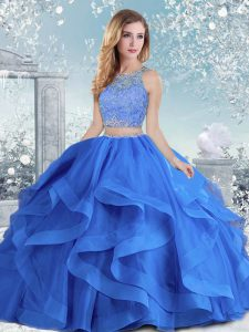 Royal Blue Scoop Neckline Beading and Ruffles Sweet 16 Dresses Long Sleeves Clasp Handle