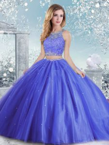 Fantastic Beading and Sequins Sweet 16 Dress Blue Clasp Handle Sleeveless Floor Length