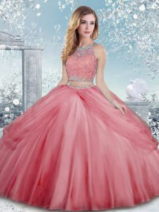 Classical Watermelon Red Scoop Neckline Beading Sweet 16 Dress Sleeveless Clasp Handle